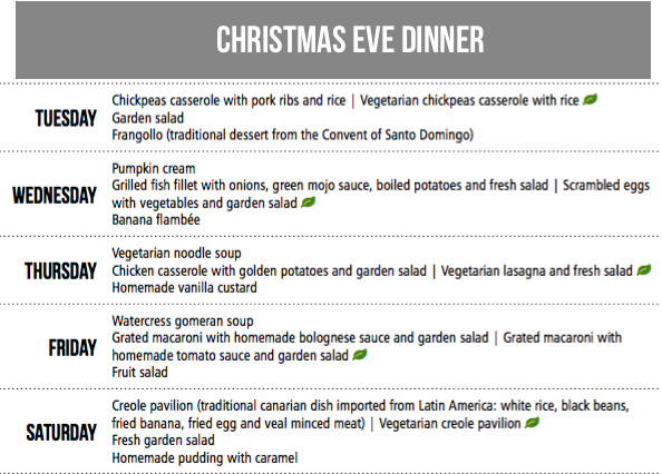 Los Telares dinner menus Christmas Week 2018