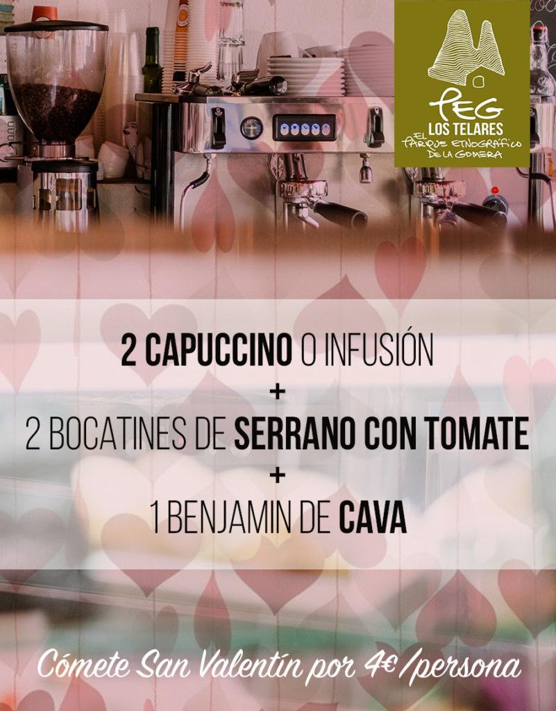 Oferta san valentin: 4€/persona. 2 capuccinos + 2 bocatines de serrano + 1 benjamin de cava